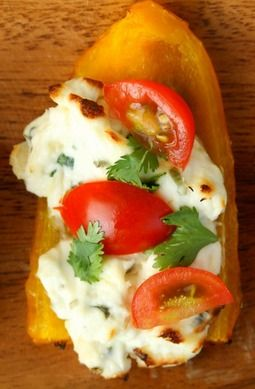Herbed Cream Cheese Grilled Bell Pepper Boats