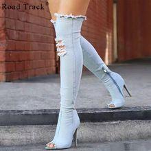 RoadTrack Mujeres Botas Moda Sexy Talón Fino de Las Mujeres Sobre La Rodilla Peep Toe Zip botas de Agujeros de Mezclilla Color Sólido de Las Mujeres Botas 1314-5(China (Mainland))
