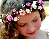 Roses and tiny forget-me not Flower Crown handmade boho style