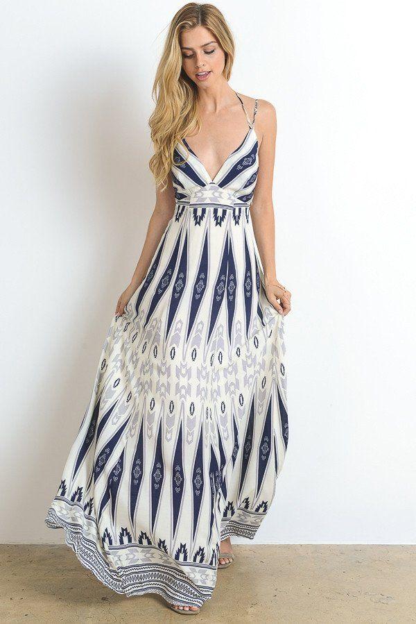 Tribal Blue Maxi Dress