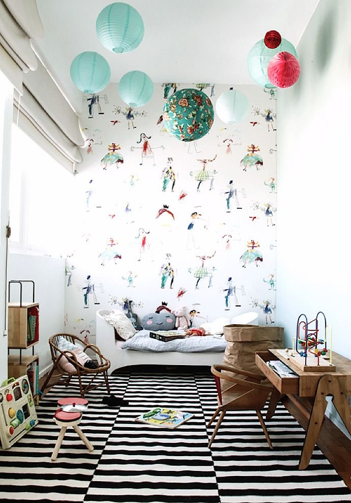 LOVE this fun wallpaper for a kid's room (wallpaper from Pierre Frey, image via Constance Gennari):