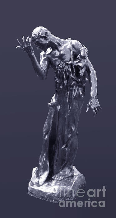 1889, auguste rodin, bronze, statue, sculpture, photograph, photography, black, white, gray, power blue, cut-out, french, modern, burgher, burghers of calais, calais, carousel collection,  hundred year's war, monument, realism,  the rodin museum, original, art,