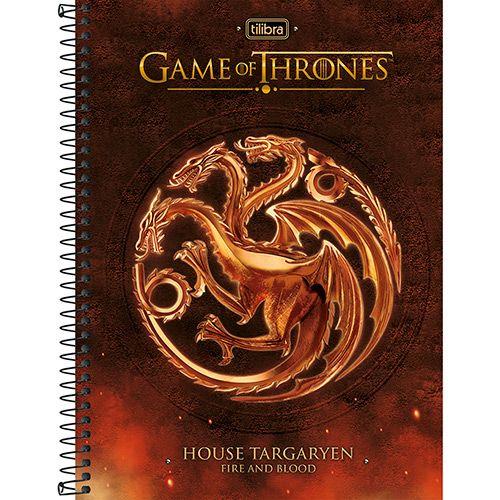 Caderno Universitário Tilibra Game Of Thrones Vermelho com Capa Dura - 200 Folhas