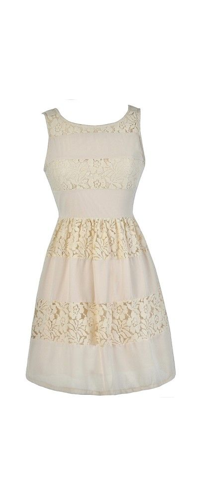 Angelica Beige Lace Panel A-Line Dress  www.lilyboutique.com