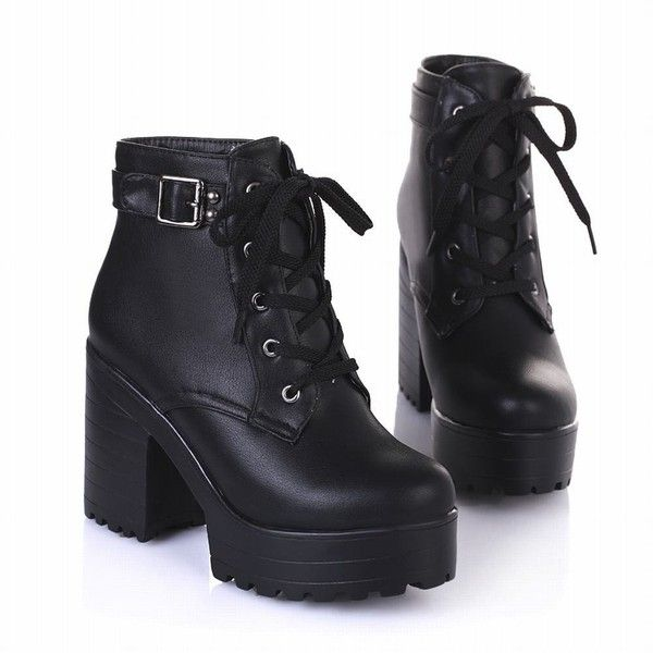 Latasa Women's Fashion Platform Ankle-high High-heel Chunky Boots,... ($34) ❤ liked on Polyvore featuring shoes, boots, ankle booties, platform boots, high heel ankle booties, lace up high heel booties, lace up high heel boots and chunky platform booties