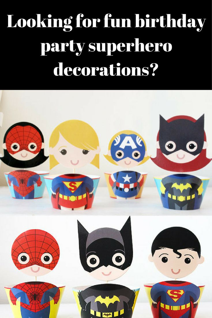 Superhero Cupcake Toppers Cupcake Wrappers Supergirl Party Decoration Girl or Boy Superhero Birthday Party Supplies Cupcake decoration, Set of 12 #ad