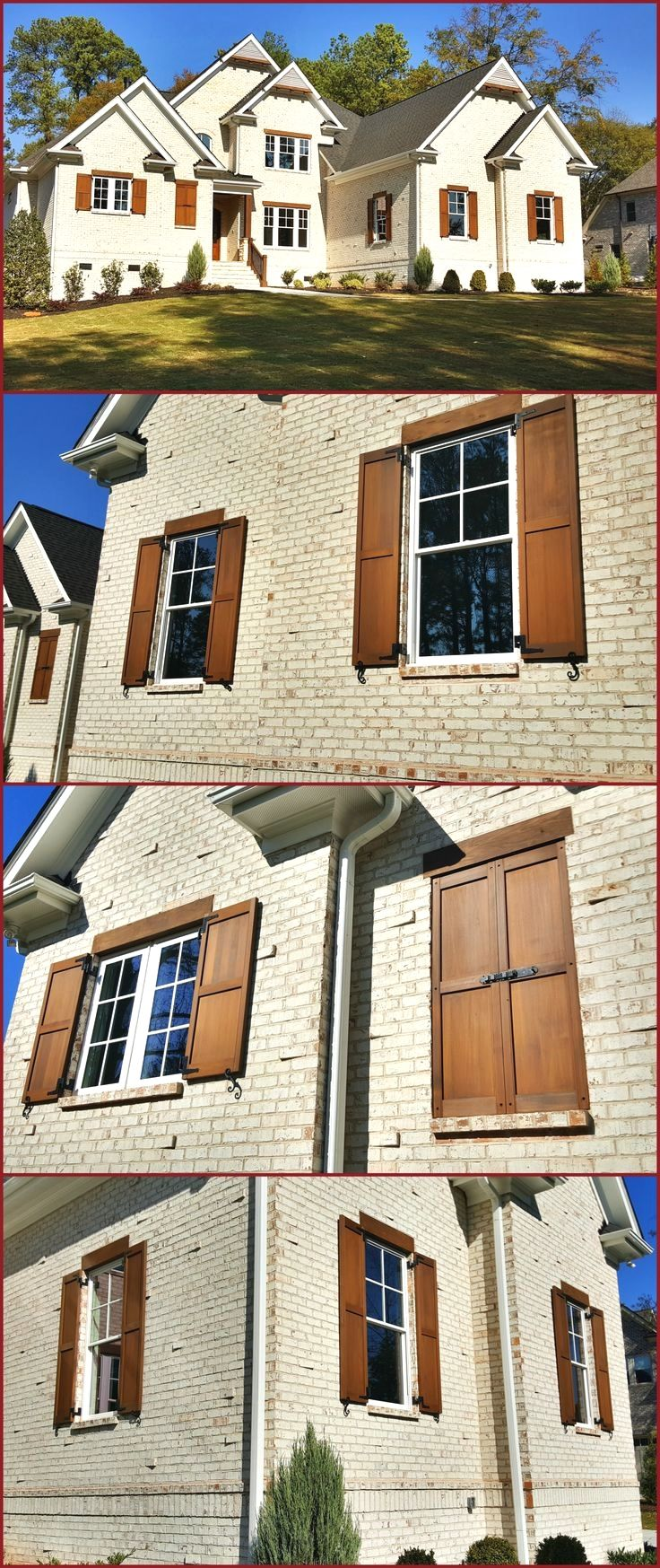 Custom Built And Stained Exterior Cedar Shutters On White Brick