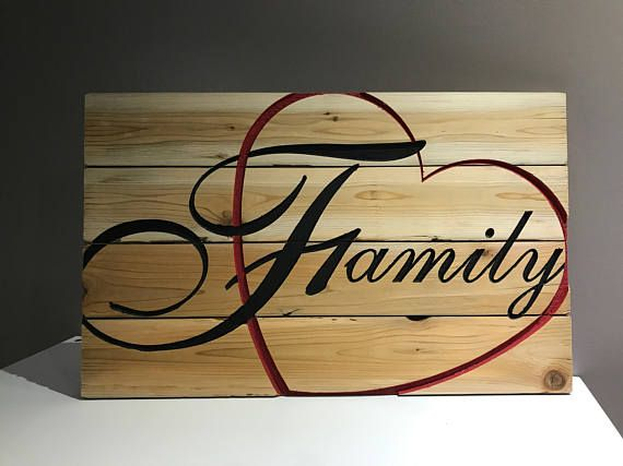 Family Love Carved Wood Sign