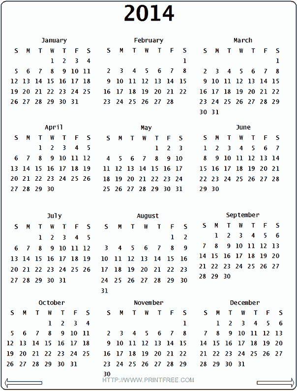 2014 Calendar Printable | 2014 Calendar