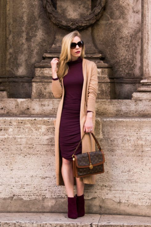 Booties. Burgundy dress.  Vest or Cardigan.