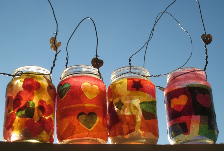 Jam Jar craft the kids will love | old jars, coathangers and the occasional accoutrement (in this case a couple of heart buttons) | so effective ... and virtually free!