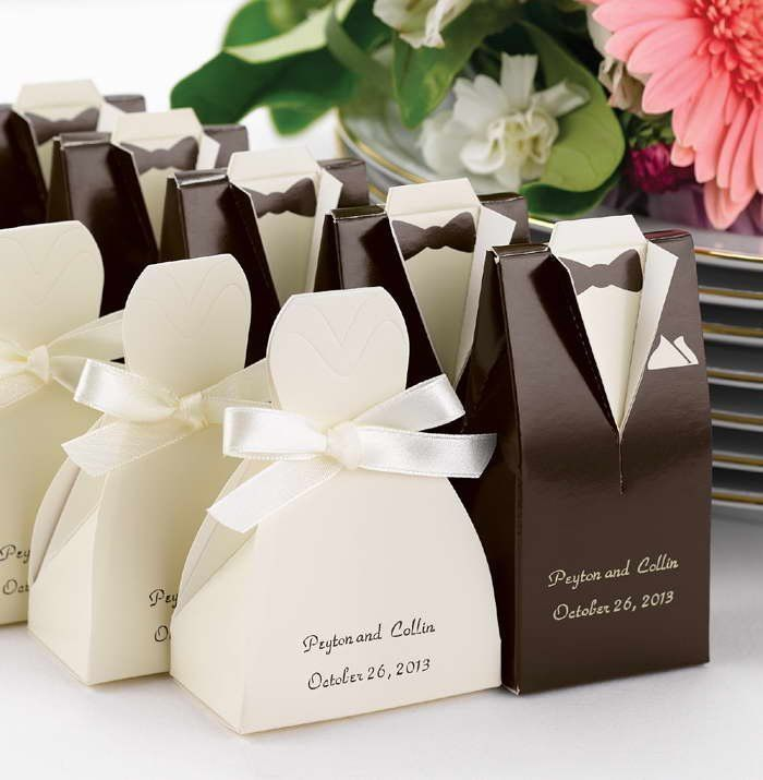 Promotion Free shipping 100 pcs/lot, wedding decoration of Brown Tuxedo or Ivory Gown Favor Box wholesale and retail $32.63