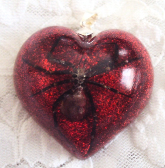 Real Black Widow Spider Clear Heart Resin Pendant by veronica1018, $39.99