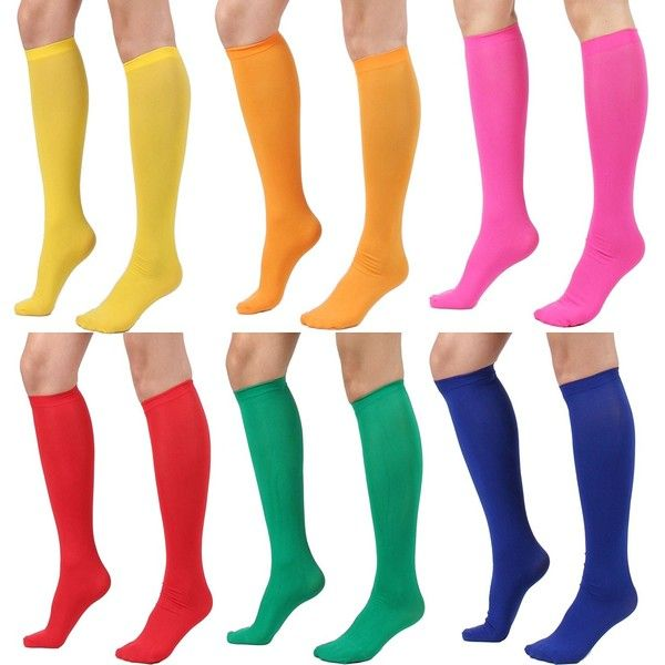Women's Semi Opaque Knee High Trouser Sock 3pair / 6pair (One Size :... (€14) ❤ liked on Polyvore featuring intimates, hosiery, socks, red socks, wide socks, knee high hosiery, orange knee high socks and blue socks