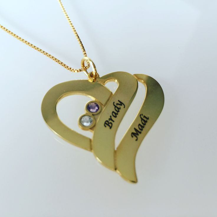 Gold Heart Necklace with Birthstones