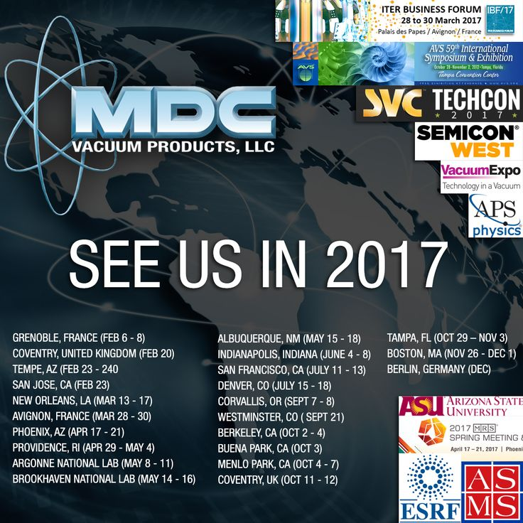 Do you want to know where you can see MDC, and all of our latest product innovations this year? Check out the 2017 Events Calendar on our website to find out: http://www.mdcvacuum.com/DisplayContentPageFull.aspx?cc=NMDCEVENTS. We look forward to meeting with you, and helping drive your process forward in 2017! #MDCVacuum #vacuumtech #vacuumtechnology #ESRF #SEMICONWest #ITER #apsmarch #s17mrs #materialsresearch #materialsscience #ASMS #ASU #physics #semiconductor