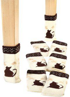 Носки для ножек стульев или стола «Кошечка» (8 шт.), bpc living, бежевый/коричневый
