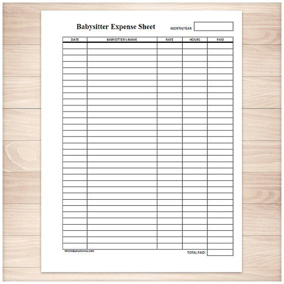 printable babysitter expense sheet - monthly babysitter or child care payment log