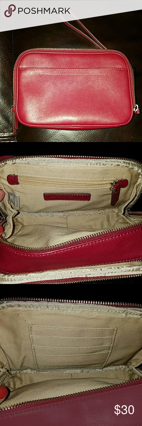 Banana Republic Large Wristlet Gorgeous red structured wristlet,  carries makeup,  credit cards and money. A must have! Banana Republic Bags Clutches & Wristlets