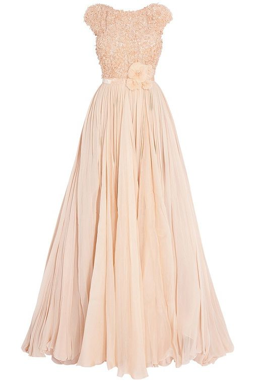 elegant peach cap sleeve bateau neck flower chiffon long bridesmadi dress
