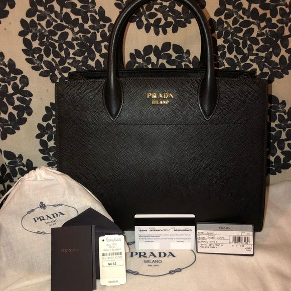 d96c62333f2c87 Prada Bibliotheque Medium Saffiano Tote Bag 💯AUTHENTIC ALL HANDBAGS BRAND  NEW Prada saffiano leather tote