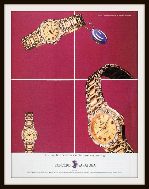 1991 Concord Saratoga Watch advertisement. Vintage watch ad. Vintage Concord ad. Vintage fashion ad.