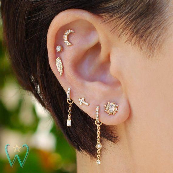 Gold Chain Earring Gold Cartilage Earring with Crescent Moon Charm Cartilage Chain Earring
