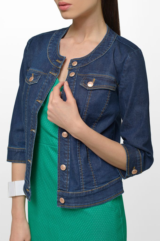 Sarah Lawrence - dress with polka dots, denim jacket.