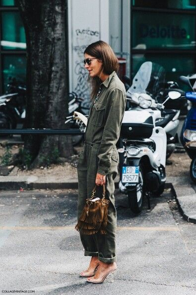 Army green coveralls street style fashion brunette aviators fringe bag clear shoes overalls streetwear