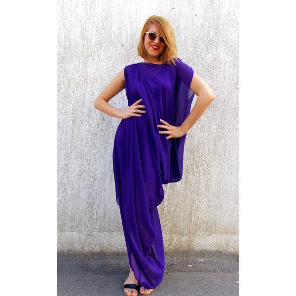 30 Off Asymmetrical Purple Maxi Dress Oversize Chiffon Maxi Kaftan... ($69) ❤ liked on Polyvore featuring tops, tunics, dresses, grey, women's clothing, plus size tops, womens plus size tunics, summer shirts, plus size summer tops and button shirt
