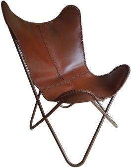 Vlinderstoel leer cognac bruin (leverbaar in januari)
