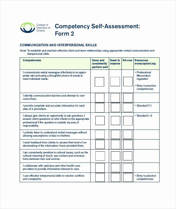 Nursing Competency Assessment Template Inspirational 9 Of Munication Skills Self Assess Job Application Template Statement Template Application Letter Template