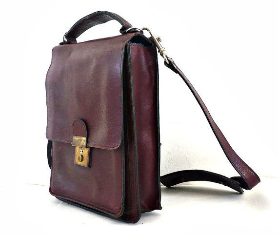 JAMES French Vintage 70s Burgundy Leather Messenger Bag by bOmode, $59.00
