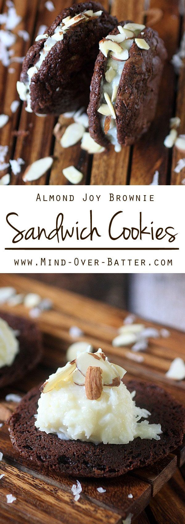 A Sweet coconut and almond filling is sandwiched between two soft baked brownie cookies. If there is ever a cookie you need to try – These Almond Joy Brownie Sandwich Cookies are the one! By @mindovrbatterny