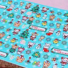 3pcs / lot Lazy Bear / Soft Navidad Impreso no tejida tela de color azul sintió 2 mm de espesor 100 % Poliéster Fieltro 40x30cm Tela patchwork(China (Mainland))