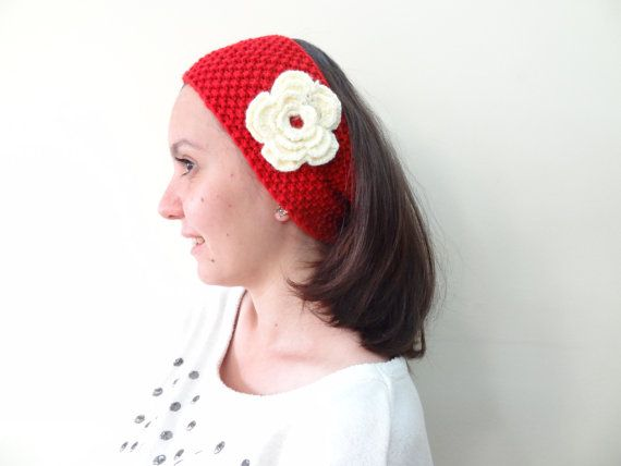 Red Knit Headband Hand Knitted Headband  Women by SwomanStore