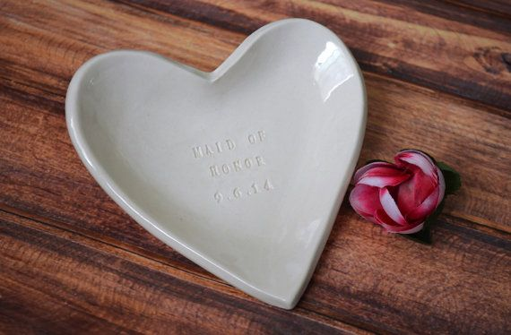 Maid of Honor Gift - Personalized Heart Bowl - Packaged in a Velvet Bag $36.00. This is a great way to ask your favorite lady to be your MOH or give as a thank you gift at the wedding!  Personalize it with your wedding date or your maid of honors name or initials.