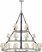 "Lustre en nickel poli avec abat-jour en lin - Chandelier in polished nickel with linen shades, 57""h x 57""w, Canopy: 6.5""dia, 24 x candelabra type B 40W"