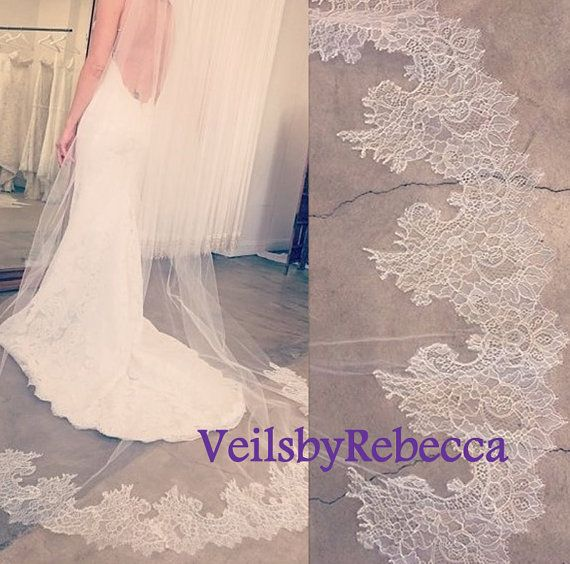 1 tier cathedral lace veil ivory cathedral lace by VeilsbyRebecca