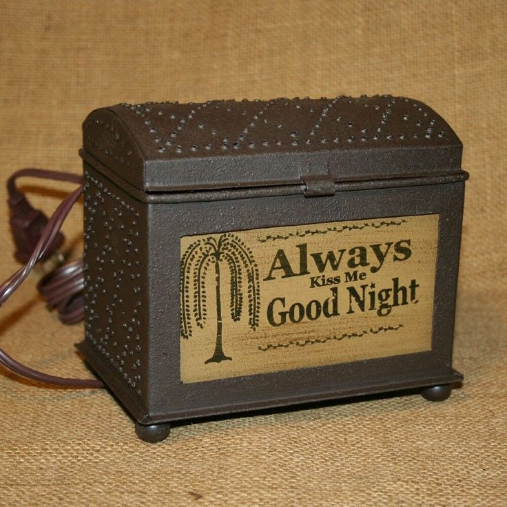 Electric Wax Tart Warmer ~ Punched tin chest electric wax tart warmer always kiss me