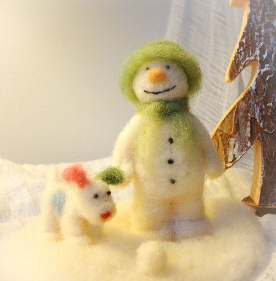 The+Snowman+and+his+Snowdog++Wool+Needle+Felt+by+madamecraig,+£50.00