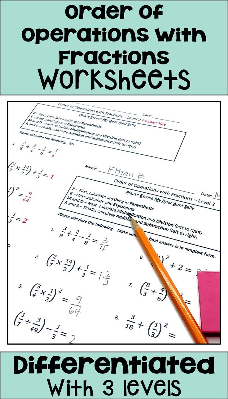 Order Of Operations With Fractions Worksheets Using Pemdas Order Of Operations Operations With Fractions Differentiation Math
