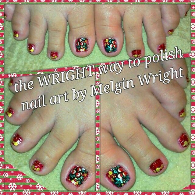 Christmas themed toes!- Hand Painted with Nail polish and acrylic paint by Melgin Wright  http://www.facebook.com/TheWrightWayToPolishNailArtByMelginWright  http://pinterest.com/melginswright/boards/