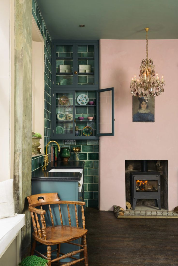 10 Beautiful Rooms - Mad About The House - the blush walls and those green tiles though