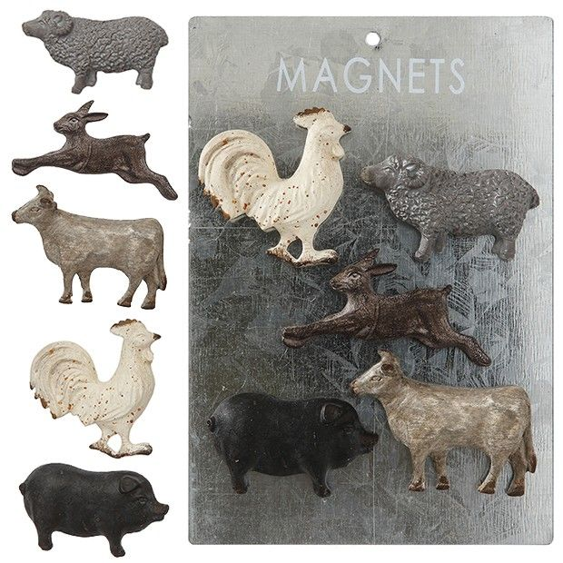 Rustic Farm Animal Magnets, Set of 5