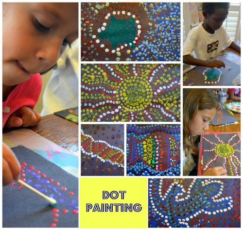 A great compliment to teaching the children about Seurat and pointillism. Australian Dot Painting- Kid World Citizen