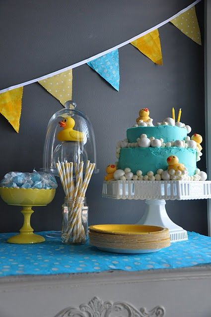 Love the rubber ducky theme for a baby shower.