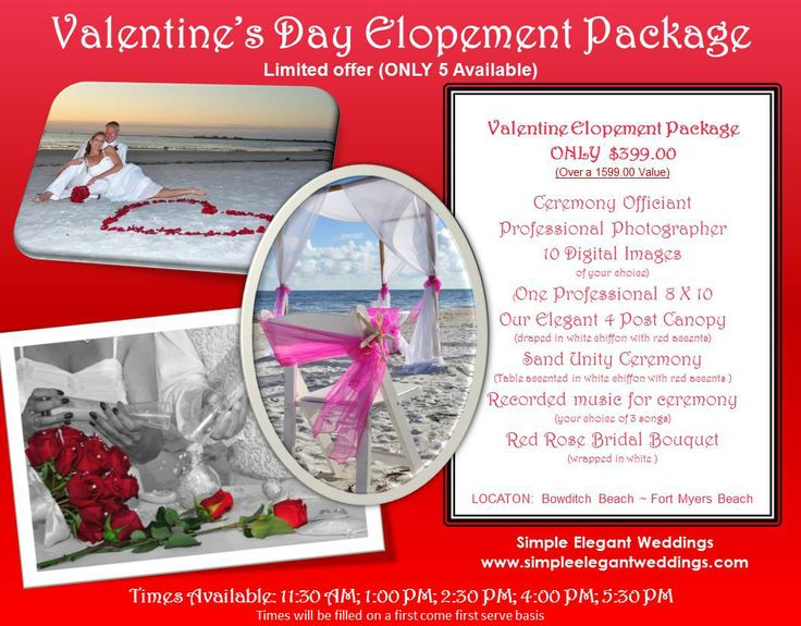 Valentines Day Beach ElopementElopement WeddingFort Myers BeachPackage