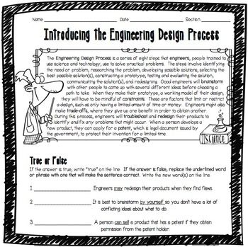 This Introducing the Engineering Design Process Worksheet was designed for middle school students learning about the Engineering Design Process for the first time. Key vocabulary includes engineers, brainstorming, constraints, troubleshooting, redesign, trade-offs, and patent. This double-sided worksheet features a helpful content summary at the top which students can refer back to while they're working if they need help. It goes perfectly with my Engineering Design Process Posters.