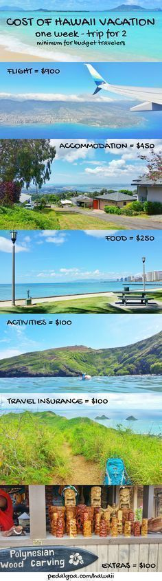 Cost for Hawaii trip. For things to do in Hawaii on a budget - Oahu, Maui, Kauai, Big Island, save money, have fun on Hawaii vacation with beaches, snorkeling, hiking ideas! What you pack and wear adds cost for your Hawaii packing list but find cheap (er) flights, hotels (airbnb vacation rentals), food, free activities without gift shopping. ;) Prices for planning USA bucket list destination! Apply budget travel tips on all Hawaiian islands - honeymoon, wedding, anniversary... #hawaii #oahu